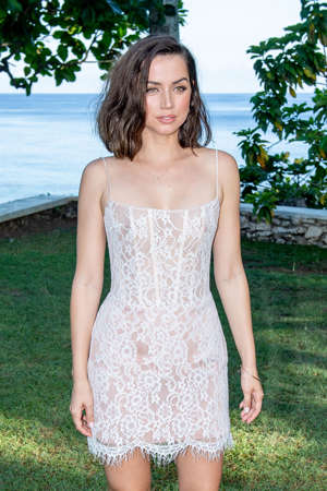 "MONTEGO BAY, JAMAICA - APRIL 25:  Actor Ana de Armas attends the ""Bond 25"" Film Launch at Ian Fleming's Home ""GoldenEye"", on April 25, 2019 in Montego Bay, Jamaica. (Photo by Roy Rochlin/Getty Images for Metro Goldwyn Mayer Pictures)"