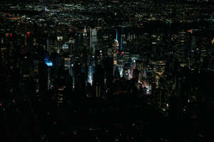 NEW YORK, NY - JULY 13:  A large section of Manhattan's Upper West Side and Midtown neighborhoods are seen in darkness from above  during a major power outage on July 13, 2019 in New York City. Thousands of New Yorkers are without power as a major outage left portions of Manhattan, including Times Square and the Upper West Side in the dark and disrupting subway service across the city.  (Photo by Scott Heins/Getty Images)