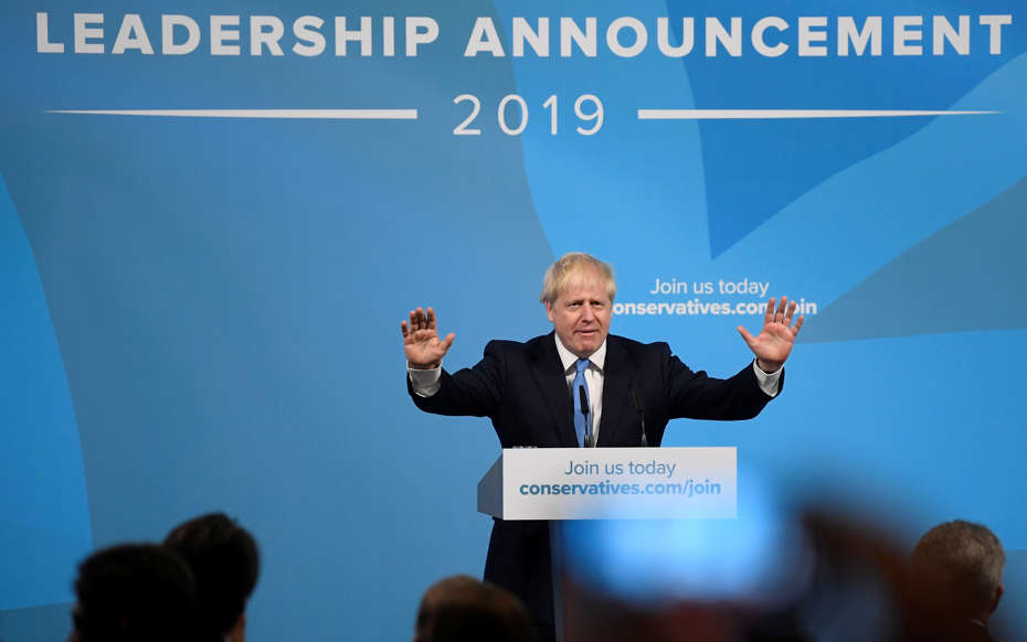 Slide 36 of 48: Boris Johnson speaks after being announced as Britain's next Prime Minister at The Queen Elizabeth II centre in London, Britain July 23, 2019. REUTERS/Toby Melville