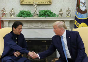 U.S. President Donald Trump greets Pakistan's Prime Minister Imran Khan in the Oval Office at the White House in Washington, U.S., July 22, 2019. REUTERS/Jonathan Ernst