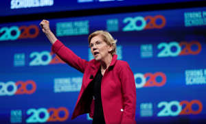 Democratic presidential candidate Sen. Elizabeth Warren, D-Mass., speaks during the National Education Association Strong Public Schools Presidential Forum Friday, July 5, 2019, in Houston. (AP Photo/David J. Phillip)