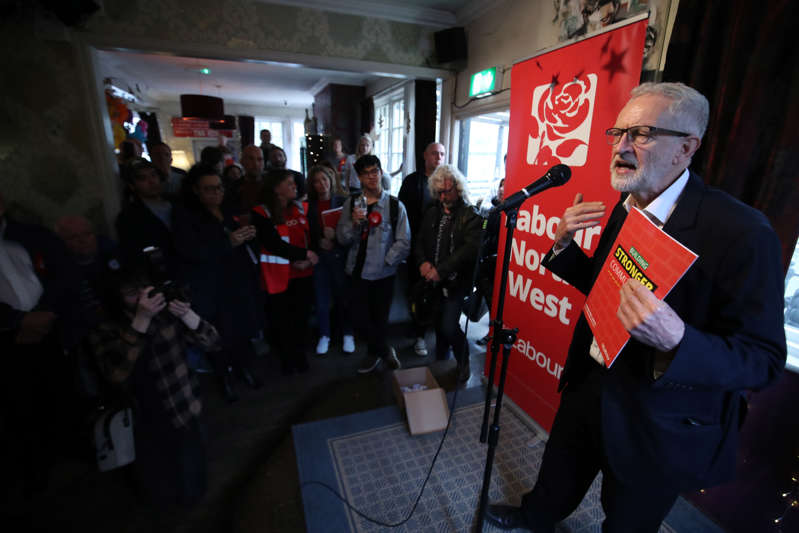 Labour leader Jeremy Corbyn speaking to party members in the Red Lion, Winsford while on the local election campaign trail. (Photo by Danny Lawson/PA Images via Getty Images)