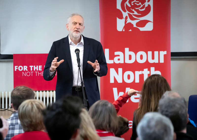 Labour leader Jeremy Corbyn during a members meeting in Leyland, Lancashire while on the local election campaign trail. (Photo by Danny Lawson/PA Images via Getty Images)