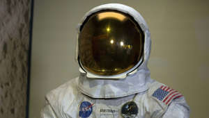 Neil Armstrong's Apollo 11 spacesuit is seen after being unveiled for the first time in thirteen years, at the Smithsonian National Air and Space Museum in Washington, DC, on July 16, 2019, during the 50th anniversary of the launch mission. - Fifty years ago on Tuesday, three American astronauts set off from Florida for the Moon on a mission that would change the way we see humanity's place in the universe. (Photo by Alastair Pike / AFP)        (Photo credit should read ALASTAIR PIKE/AFP/Getty Images)