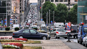 Brussels, Belgium - August 31, 2009: People drive in heavy traffic on August 31, 2009 in Brussels, Belgium. With 559 vehicles per 1000 people Belgium is 25th most motorized country in the world.