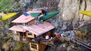 This cliff-side hotel has no road. You can get to it only by zipline