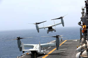 MV-22 Osprey aircraft takes off on the deck of the USS Boxer (LHD-4) in the Arabian Sea off Oman July 17, 2019.