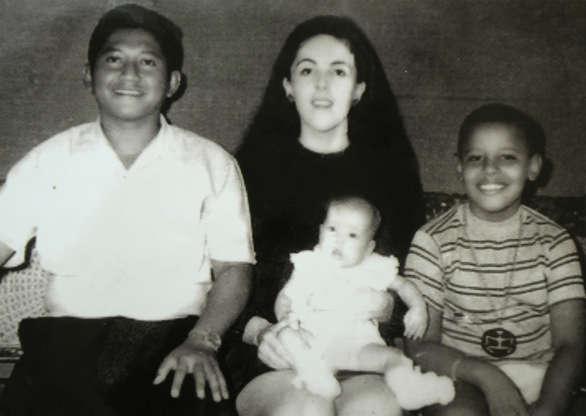 Slide 3 of 32: Barack Obama's childhood in Jakarta, Indonesia - Sep 2010 Lolo Soetoro, Ann Dunham, Maya Soetoro and Barack Obama 1970s
