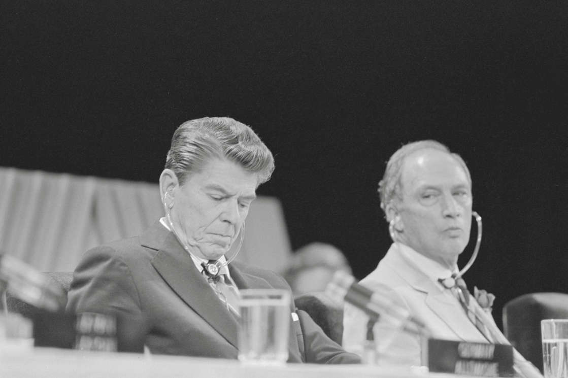 Ronald Reagan with Closed Eyes by Pierre Trudeau. (Photo by Bettmann/Corbis/Getty Images)