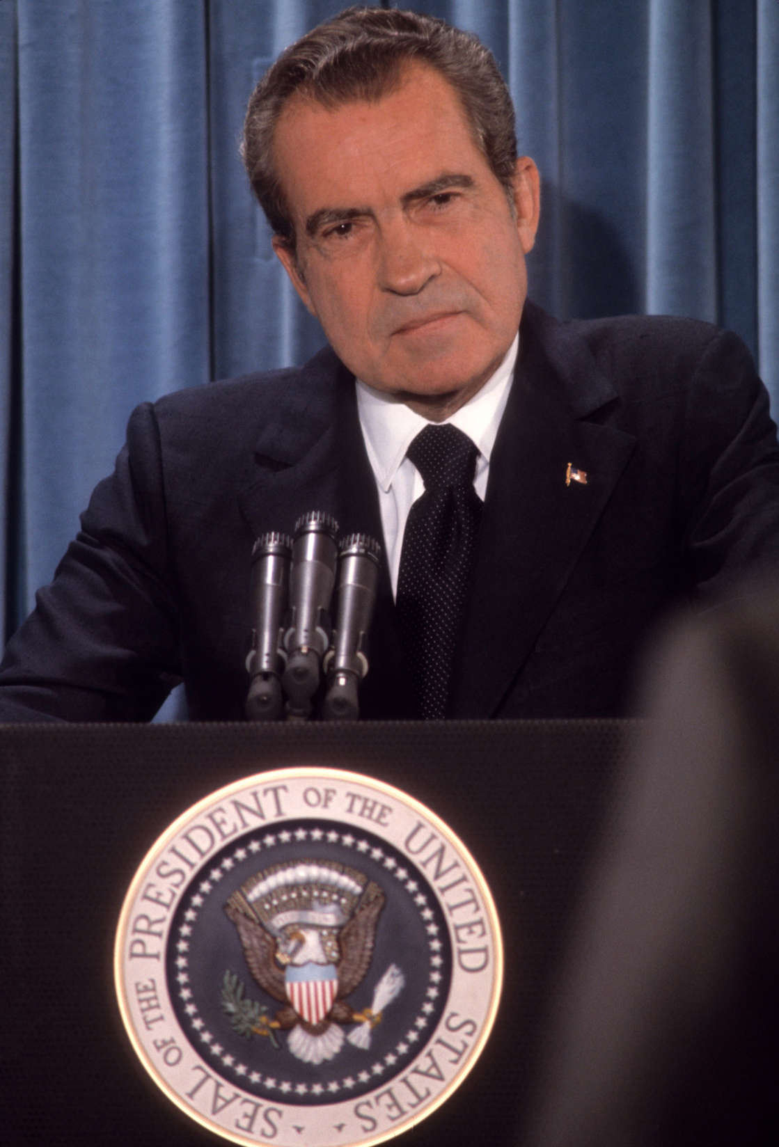 President Richard Nixon at a press conference, Washington DC, September 5, 1973 (Photo by David Hume Kennerly/Getty Images)