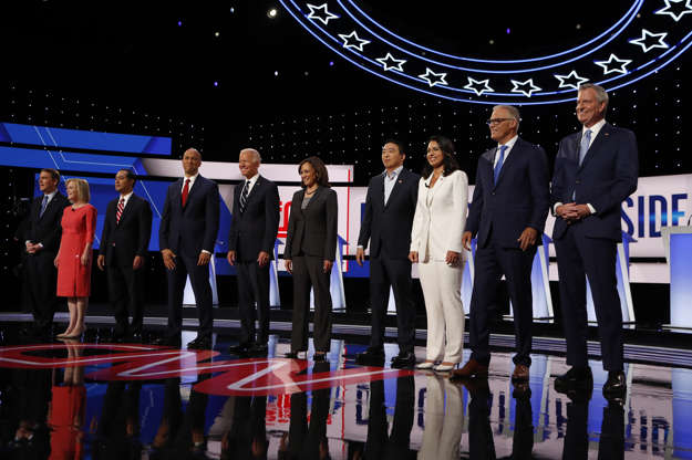 Slide 1 of 42: From left, Sen. Michael Bennet, D-Colo., Sen. Kirsten Gillibrand, D-N.Y., former Housing and Urban Development Secretary Julian Castro, Sen. Cory Booker, D-N.J., former Vice President Joe Biden, Sen. Kamala Harris, D-Calif., Andrew Yang, Rep. Tulsi Gabbard, D-Hawaii, Washington Gov. Jay Inslee and New York City Mayor Bill de Blasio are introduced before the second of two Democratic presidential primary debates hosted by CNN Wednesday, July 31, 2019, in the Fox Theatre in Detroit.