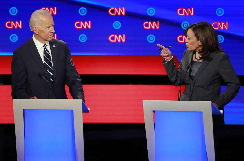U.S. Senator Kamala Harris points at former Vice President Joe Biden on the second night of the second 2020 Democratic U.S. presidential debate in Detroit, Michigan, July 31, 2019. REUTERS/Lucas Jackson