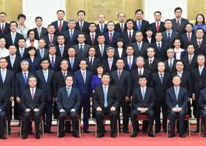 BEIJING, July 17, 2019 -- Chinese President Xi Jinping C, front row, also general secretary of the Communist Party of China Central Committee and chairman of the Central Military Commission, meets with Chinese diplomatic envoys to foreign countries, who are in Beijing to attend a work conference for overseas envoys, at the Great Hall of the People in Beijing, capital of China, July 17, 2019. Wang Huning, a member of the Standing Committee of the Political Bureau of the CPC Central Committee and a member of the Secretariat of the CPC Central Committee, was also present. (Photo by Zhang Ling/Xinhua via Getty) (Xinhua/Zhang Ling via Getty Images)