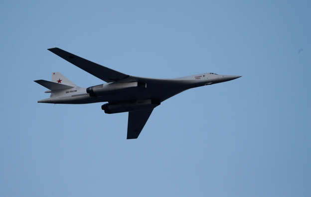 FILE: Russian Tu-160 Supersonic Bomber flies during a military parade marking the Belarus Independence Day in Minsk, Belarus July 3, 2019. REUTERS/Vasily Fedosenko