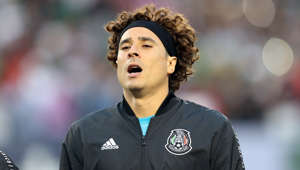 CHICAGO, IL - JULY 07: Guillermo Ochoa #13 of Mexico sings National anthem during the CONCACAF Gold Cup 2019 final match between United States and Mexico at Soldier Field on July 7, 2019 in Chicago, Illinois. (Photo by Omar Vega/Getty Images)