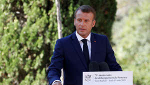 French President Emmanuel Macron delivers a speech during a ceremony marking the 75th anniversary of the Allied landings in Provence in World War Two which helped liberate southern France, in Boulouris, France, August 15, 2019.  REUTERS/Eric Gaillard/Pool