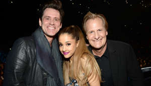 INGLEWOOD, CA - AUGUST 24:  Jim Carrey, Ariana Grande and Jeff Daniels attend the 2014 MTV Video Music Awards at The Forum on August 24, 2014 in Inglewood, California.  (Photo by Kevin Mazur/MTV1415/WireImage)