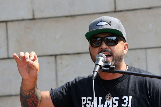 SEATTLE, WA - AUGUST 18: Joey Gibson, leader of the far-right group, Patriot Prayer, speaks during the  'Liberty or Death - Rally Against Left Wing Violence' outside Seattle City Hall on August 18, 2018 in Seattle, Washington. Right wing groups including Patriot Prayer held a pro-gun rally to oppose Washington gun-control Initiative 1639 and were met with a large counterprotest. (Photo by Karen Ducey/Getty Images)