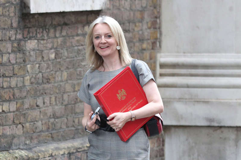 International Trade Secretary Liz Truss arrives at 10 Downing Street in London. (Photo by Jonathan Brady/PA Images via Getty Images)