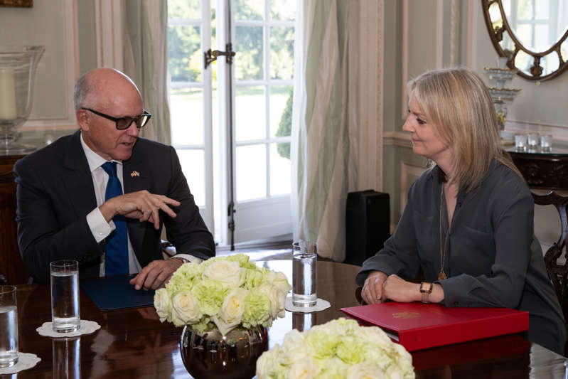 International Trade Secretary Liz Truss meets with US Ambassador to the UK, Woody Johnson, at Winfield House in London. (Photo by Aaron Chown/PA Images via Getty Images)