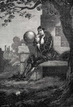 Isaac Newton sitting under the famous apple tree