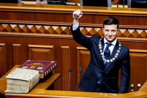 Ukraine's President-elect Volodymyr Zelenskiy takes the oath during his inauguration ceremony in the parliament hall in Kiev, Ukraine May 20, 2019. Vladyslav Musiienko/Ukrainian Governmental Press Service/Handout via REUTERS ATTENTION EDITORS - THIS IMAGE WAS PROVIDED BY A THIRD PARTY. - RC1FA210F6E0