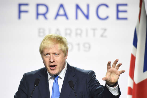 Prime Minister Boris Johnson during a press conference at the conclusion of the G7 summit in Biarritz, France. (Photo by Stefan Rousseau/PA Images via Getty Images)