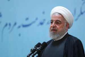 "TEHRAN, IRAN - AUGUST 28: (----EDITORIAL USE ONLY  MANDATORY CREDIT - ""IRANIAN PRESIDENCY / HANDOUT"" - NO MARKETING NO ADVERTISING CAMPAIGNS - DISTRIBUTED AS A SERVICE TO CLIENTS----) Iranian President Hassan Rouhani makes a speech during the commemoration of former President Mohammad-Ali Rajai in Tehran, Iran on August 28, 2019.  (Photo by Iranian Presidency / Handout/Anadolu Agency via Getty Images)"