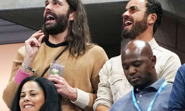 Slide 1 of 50: Jonathan Van Ness and Justin Theroux cheered during the quarterfinals of the US Open tennis championships in Flushing Meadows, New York on Tuesday, September 3.