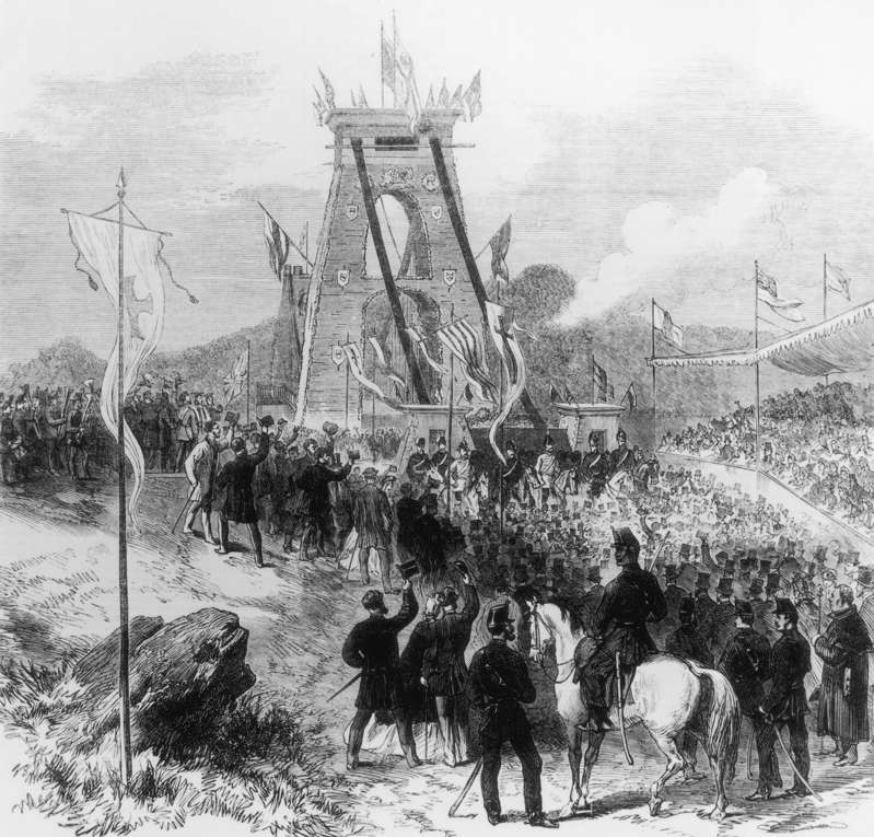 17th December 1864:  The opening of Clifton Suspension Bridge which stretches across the Avon gorge and was designed and built by Isambard Kingdom Brunel. Original Publication: Illustrated London News  (Photo by HultonArchive/Illustrated London News/Getty Images)