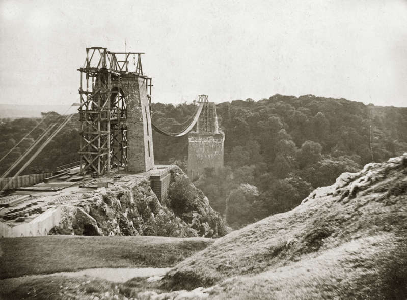 circa 1863:  The partially-built structure of the Clifton Suspension Bridge, spanning the Avon Gorge in Bristol. Designed by Isambard Kingdom Brunel, the bridge was constructed between 1836 and 1864.  (Photo by Henry Guttmann Collection/Hulton Archive/Getty Images)