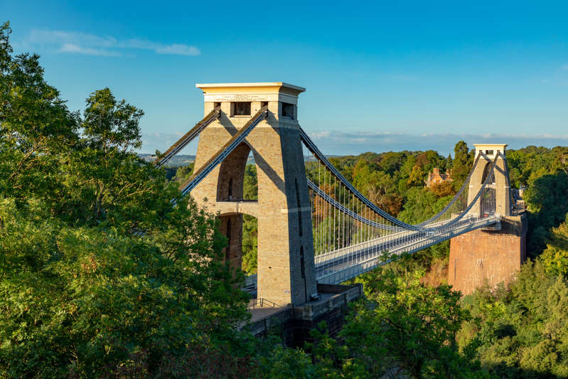 Clifton Suspension Bridge Bristol England September 07, 2018 The world famous Clifton Suspension Bridge, acrss the Avon Gorge, designed by Isambard Kingdom Brunel and opened in 1864