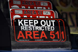 "RACHEL, NEVADA - JULY 22:  Alien and Area 51 themed gifts are displayed for sale at the Little A'le'Inn restaurant and gift shop on July 22, 2019 in Rachel, Nevada. A Facebook event entitled, ""Storm Area 51, They Can't Stop All of Us,"" which the author stated was meant as a joke, calls for people to storm the highly classified U.S. Air Force facility near Rachel on September 20, 2019, to address a conspiracy theory that the U.S. government is conducting tests with space aliens.  (Photo by David Becker/Getty Images)"