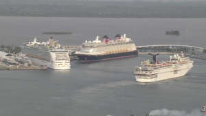 a large ship in a body of water: port canaveral cruise ships