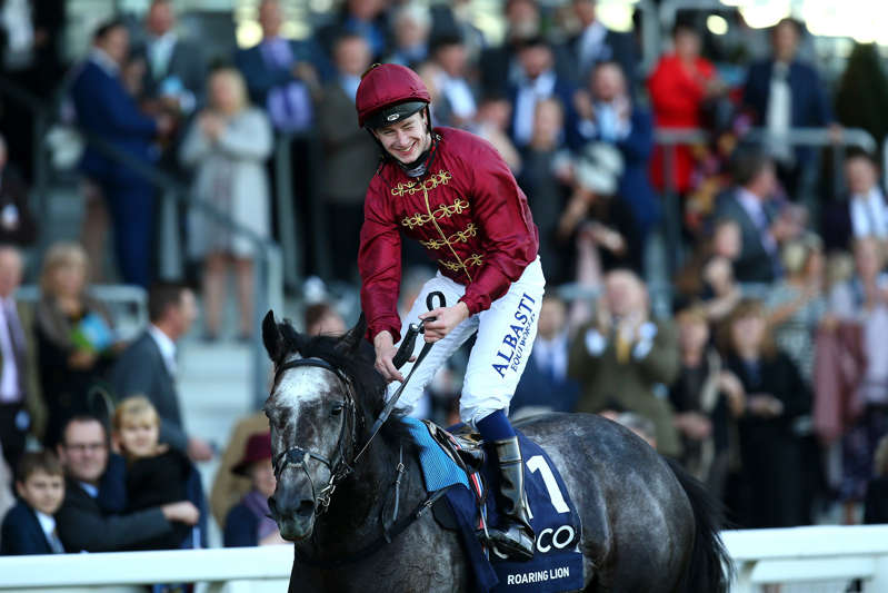 ASCOT, ENGLAND - OCTOBER 20: Oisin Murphy celebrates after he rides Roaring Lion to win The Queen Elizabeth II Stakes during QIPCO British Champions Day at Ascot Racecourse on October 20, 2018 in Ascot, England. (Photo by Charlie Crowhurst/Getty Images)