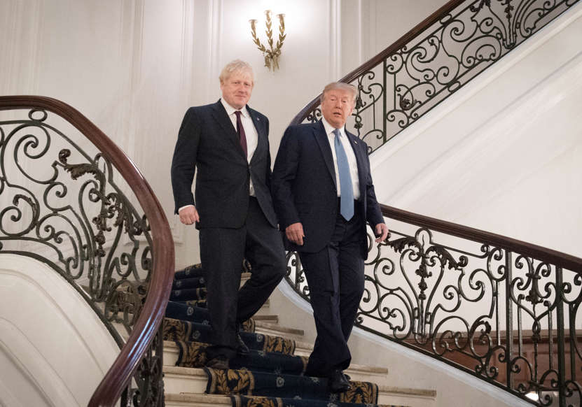 Slide 37 of 48: BIARRITZ, FRANCE - AUGUST 25: U.S. President Donald Trump and Britain's Prime Minister Boris Johnson arrive for a bilateral meeting during the G7 summit on August 25, 2019 in Biarritz, France. The French southwestern seaside resort of Biarritz is hosting the 45th G7 summit from August 24 to 26. High on the agenda will be the climate emergency, the US-China trade war, Britain's departure from the EU, and emergency talks on the Amazon wildfire crisis. (Photo by Stefan Rousseau - Pool/Getty Images)