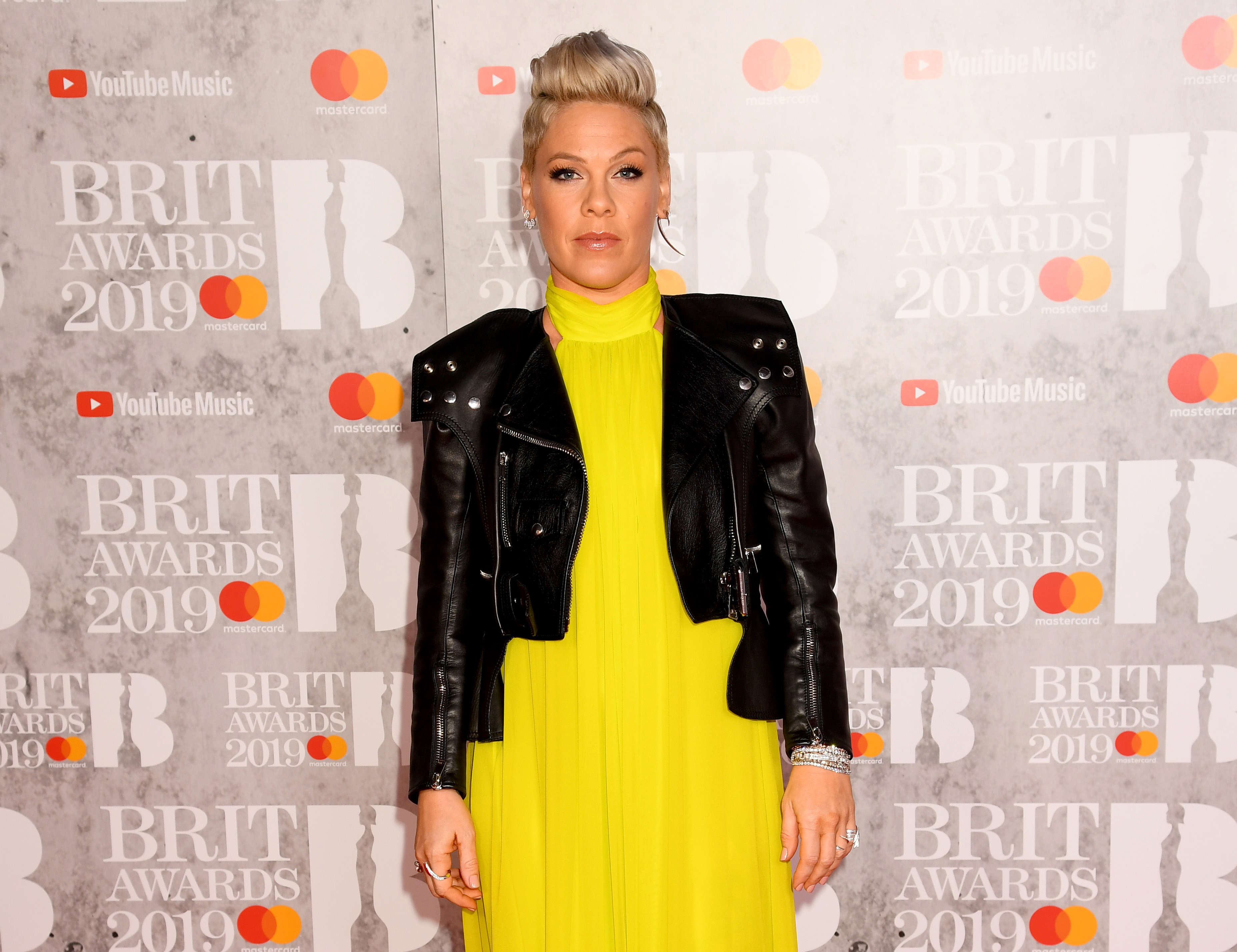 Slide 7 of 11: LONDON, ENGLAND - FEBRUARY 20: (EDITORIAL USE ONLY) P!nk attends The BRIT Awards 2019 held at The O2 Arena on February 20, 2019 in London, England. (Photo by Dave J Hogan/Getty Images)