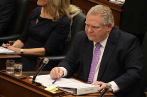 TORONTO, ON- MARCH 7  -  Premier Doug Ford makes his first appearance in the Legislative Assembly in four days as the PC government gets questioned on their autism plan in the Queen's Park Legislative Assembly  at Queen's Park in Toronto. March 7, 2019.        (Steve Russell/Toronto Star via Getty Images)