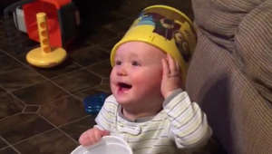 The science is simply undeniable: Babies + buckets = hilarious!!
