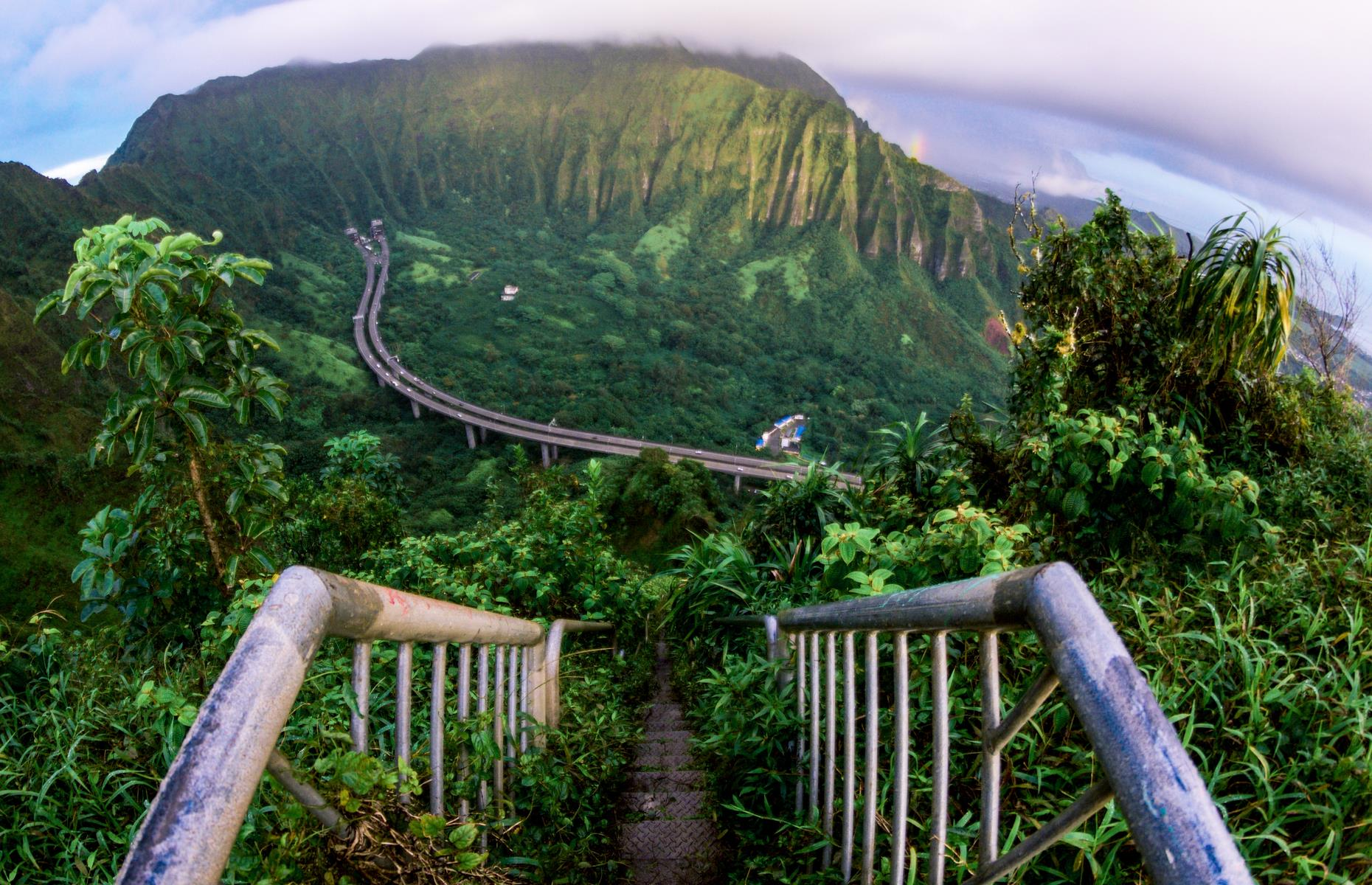 Slide 30 of 61: Nicknamed the Stairway to Heaven for good reason, this dizzying staircase lines Oahu's green Ko'olau mountains, and was built back in 1942 by the US Navy. Sadly, due to safety concerns, there are calls for the stairs to be demolished. The stairs, almost 4,000 of them,have been closed to the public for several years nowand you'll face a hefty fine if you attempt to trespass on them. However, the (legal) Kulana'ahane trail, a challenging forested hike, offers decent views of the stairway while it remains.