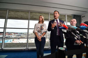 DUBLIN, IRELAND - SEPTEMBER 08: An Taoiseach Leo Varadkar holds a press conference after inspecting the newly installed border port infrastructure checkpoints at Dublin port on September 8, 2019 in Dublin, Ireland. The Irish government has installed the infrastructure in the case of a no deal Brexit. The Taoiseach will meet with British Prime Minister Boris Johnson in Dublin tomorrow. (Photo by Charles McQuillan/Getty Images)