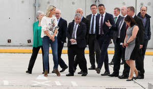 Taoiseach Leo Varadkar (centre right) and European Affairs Minister Helen McEntee (second left) with port and customs officials during a visit to new physical infrastructure at Dublin Port which has been put in place to meet the requirements for customs, SPS and health checks on consignments of goods imported from or transiting the UK. (Photo by Brian Lawless/PA Images via Getty Images)