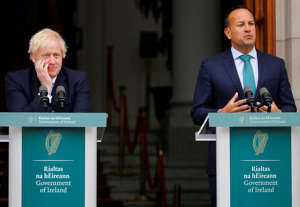 Britain's Prime Minister Boris Johnson reacts next to Ireland's Prime Minister (Taoiseach) Leo Varadkar in Dublin, Ireland, September 9, 2019. REUTERS/Phil Noble