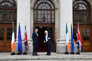 DUBLIN, IRELAND - SEPTEMBER 09: British Prime Minister Boris Johnson (R) meets with Irish Taoiseach Leo Varadkar at Government Buildings on September 9, 2019 in Dublin, Ireland. The meeting between the Prime Minister and the Taoiseach focused on Brexit negotiations, with Varadkar warning Johnson that leaving the EU with no deal risked causing instability in Northern Ireland. (Photo by Charles McQuillan/Getty Images)