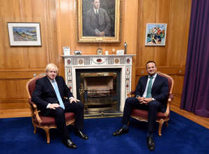 DUBLIN, IRELAND - SEPTEMBER 09: British Prime Minister Boris Johnson (L) meets with Irish Taoiseach Leo Varadkar at Government Buildings on September 9, 2019 in Dublin, Ireland.  The meeting between the Prime Minister and the Taoiseach focused on Brexit negotiations, with Varadkar warning Johnson that leaving the EU with no deal risked causing instability in Northern Ireland. (Photo by Charles McQuillan - Pool/Getty Images)