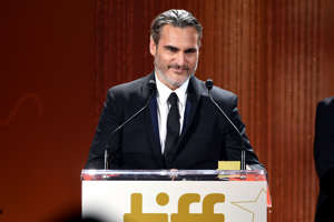 TORONTO, ONTARIO - SEPTEMBER 09: Joaquin Phoenix receives the TIFF Tribute Actor Award during the 2019 Toronto International Film Festival TIFF Tribute Gala at The Fairmont Royal York Hotel on September 09, 2019 in Toronto, Canada. (Photo by Frazer Harrison/Getty Images for TIFF )