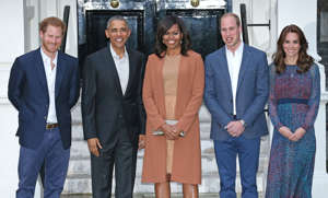 Prince Harry, Barack Obama, Michelle Obama, Prince William, Duke of Cambridge posing for a photo: With Prince William and Duchess Kate, Prince Harry welcomed President Barack Obama and First Lady Michelle Obama to Kensington Palace on April 22, 2016.