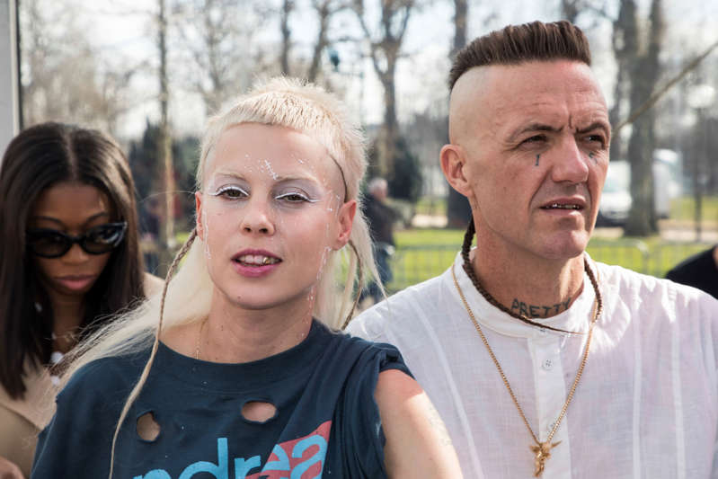 Musicians Watkin Tudor Jones a.k.a. Ninja and Yolandi Visser of Die Antwoord pose for photographers before the Andreas Kronthaler for Vivienne Westwood ready-to-wear fall/winter 2018/2019 fashion week runway show in Paris, Saturday, March 3, 2018. (Photo by Vianney Le Caer/Invision/AP)
