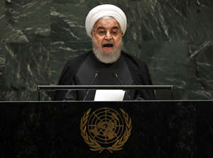 Iranian President Hassan Rouhani speaks during the 74th Session of the General Assembly at the United Nations headquarters in New York on Sept. 25.