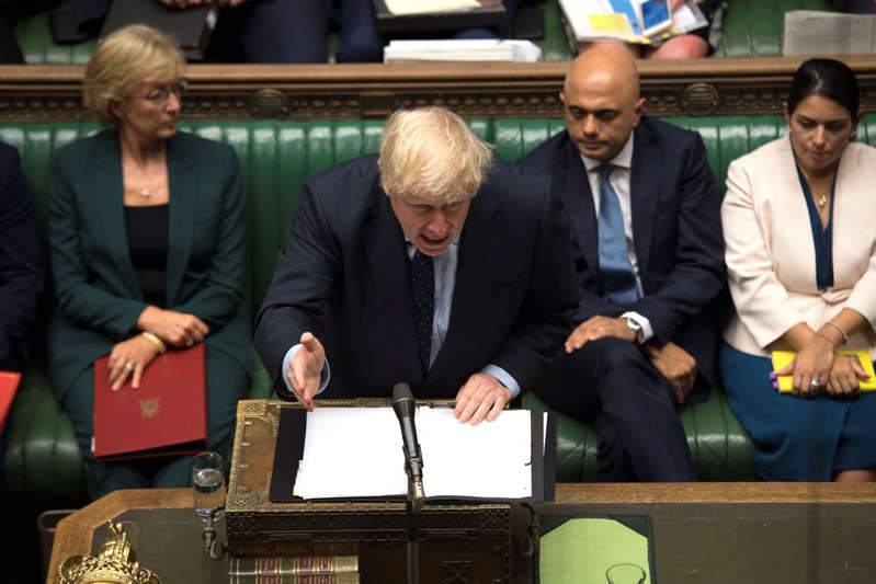 Britain's Prime Minister Boris Johnson speaks at the House of Commons in London, Britain September 3, 2019. ©UK Parliament/Jessica Taylor/Handout via REUTERS ATTENTION EDITORS - THIS IMAGE WAS PROVIDED BY A THIRD PARTY